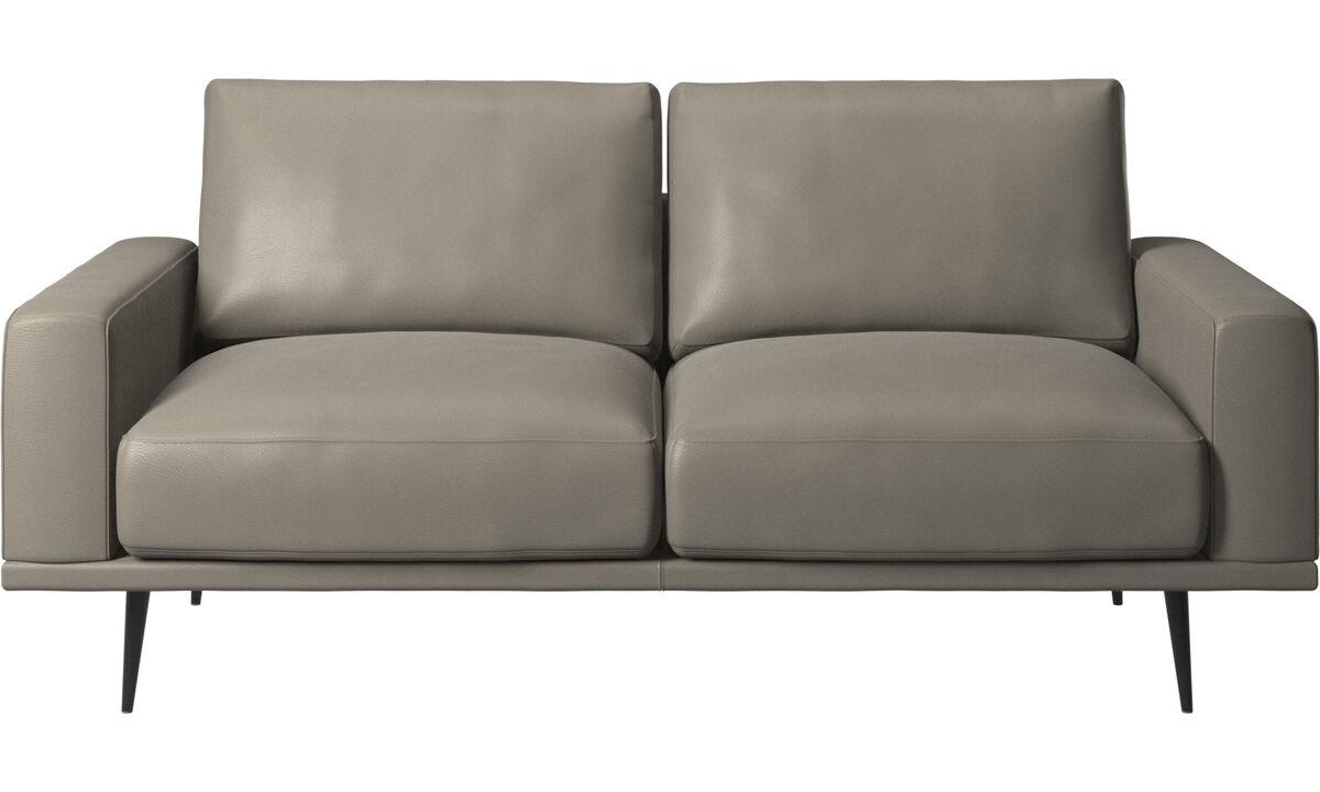 Sofás de 2 plazas - sofá Carlton - En gris - Piel