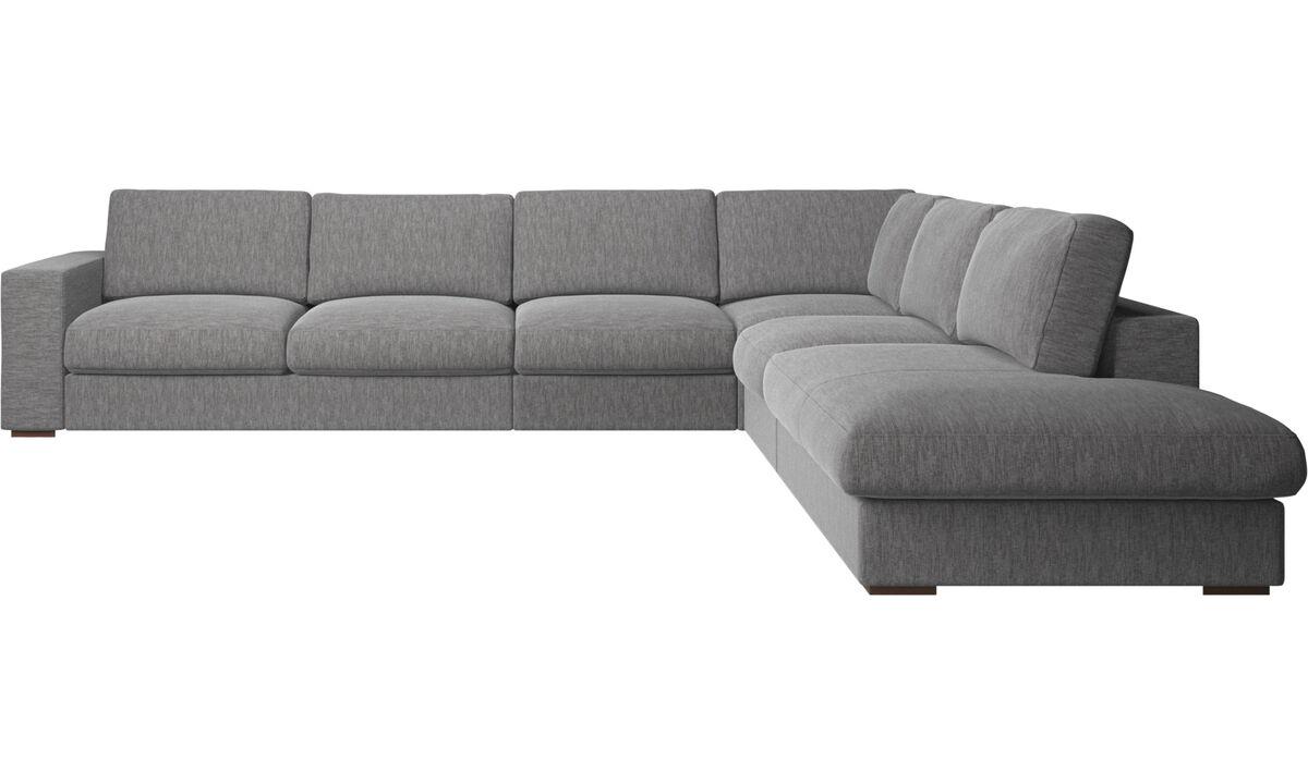 Corner sofas - Cenova corner sofa with lounging unit - Grey - Fabric
