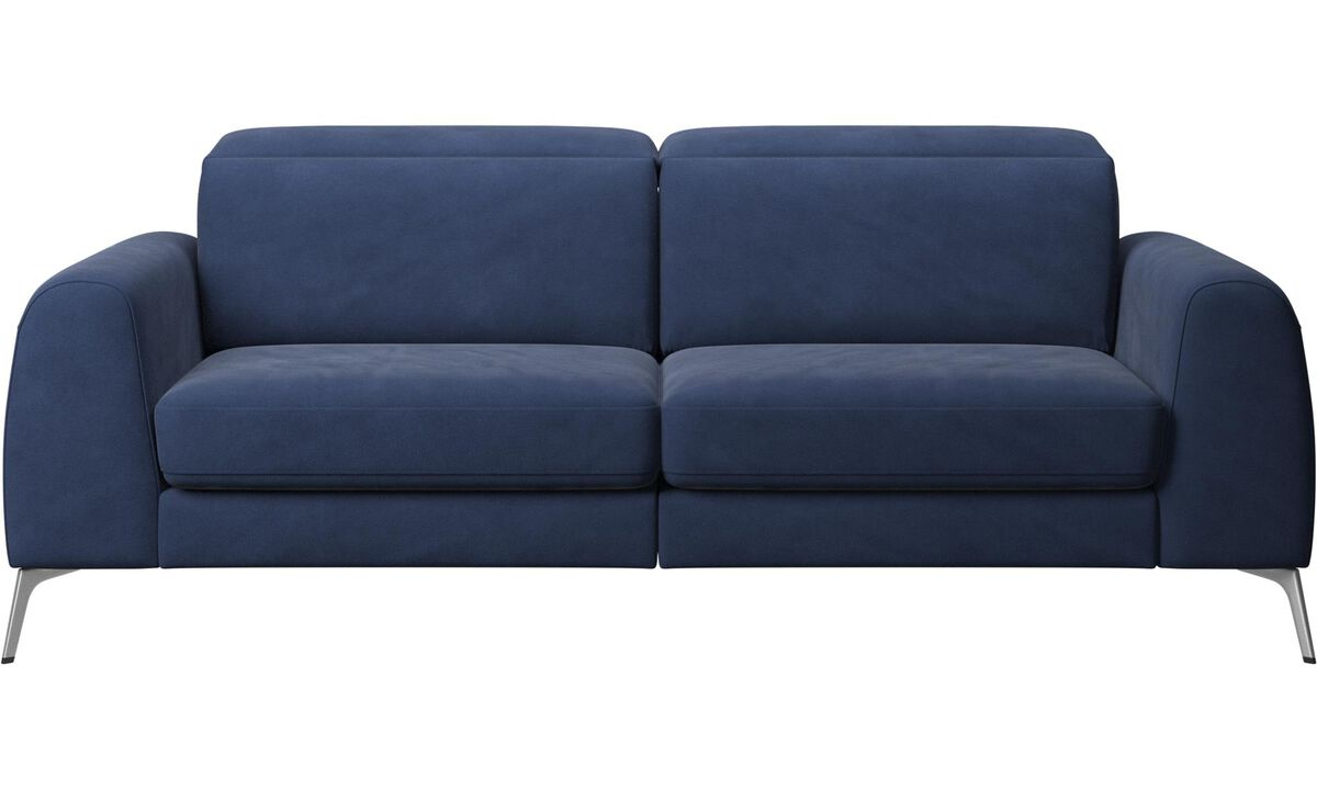 New designs - Madison sofa with sleeper function and manual headrest - Blue - Fabric