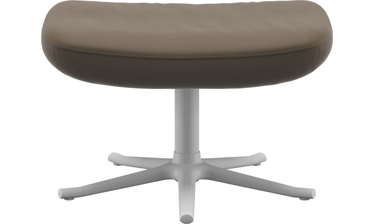 Footstools - Lucca footstool - Grey - Leather