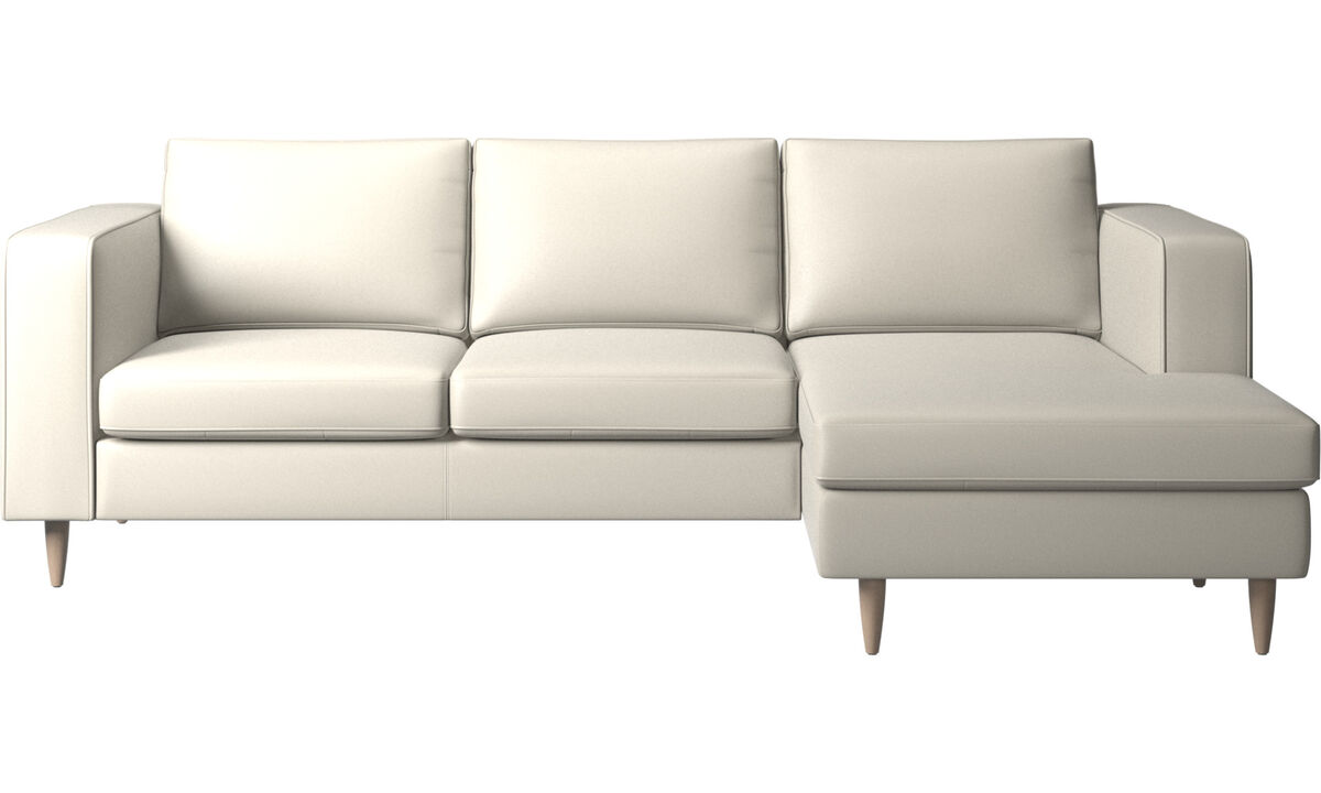 Chaise lounge sofas - Indivi sofa with resting unit - White - Leather