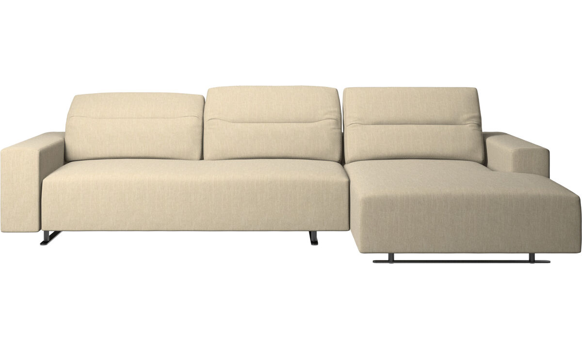 Chaise longue sofas - Hampton sofa with adjustable back and resting unit right side - Brown - Fabric
