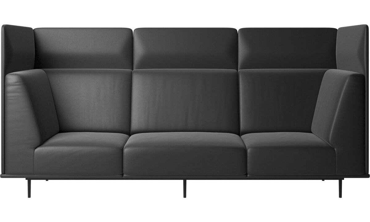 3 seater sofas - Toulouse sofa - Black - Leather