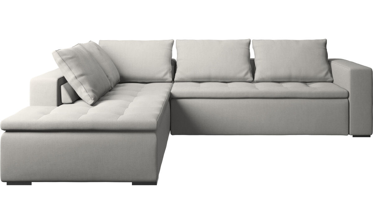 Sofas with open end - Mezzo corner sofa with lounging unit - Gray - Fabric