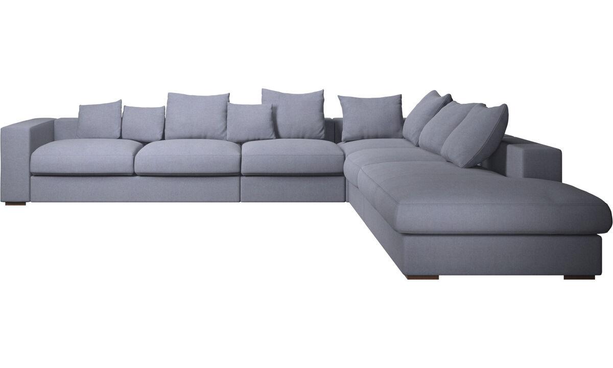 Sofás con lado abierto - sofá esquinero Cenova con módulo de descanso - En azul - Tela