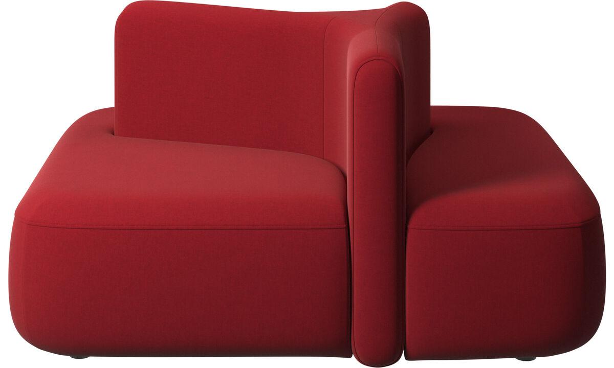 Sofás modulares - Módulo Ottawa encosto baixo - Vermelho - Tecido