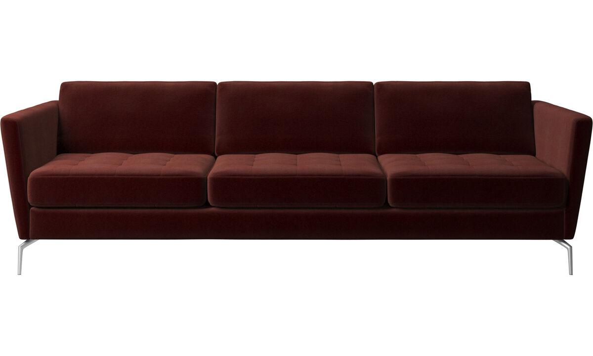 Sofás de 3 lugares - Sofá Osaka, assento tufado - Vermelho - Tecido