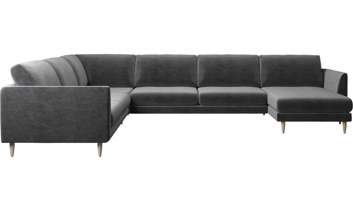 New designs - Fargo corner sofa with resting unit - Gray - Fabric
