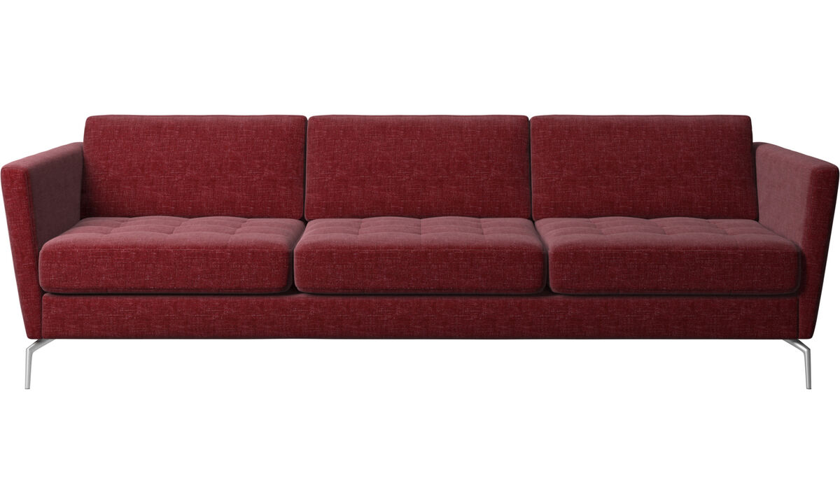 3 seater sofas - Osaka sofa, tufted seat - Red - Fabric