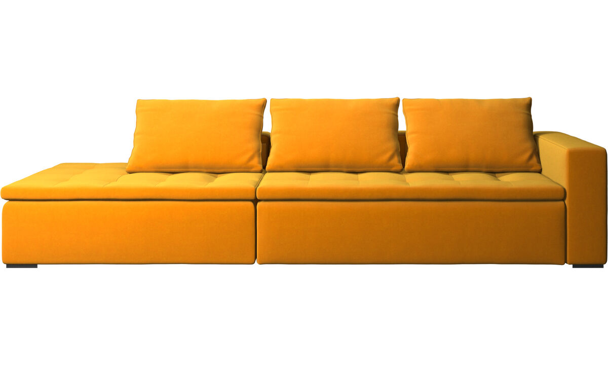 Sofas with open end - Mezzo sofa with lounging unit - Orange - Fabric