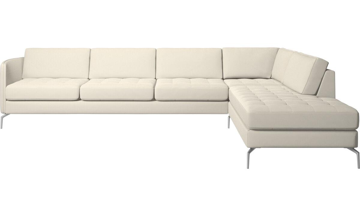 Corner sofas - Osaka corner sofa with lounging unit, tufted seat - White - Fabric