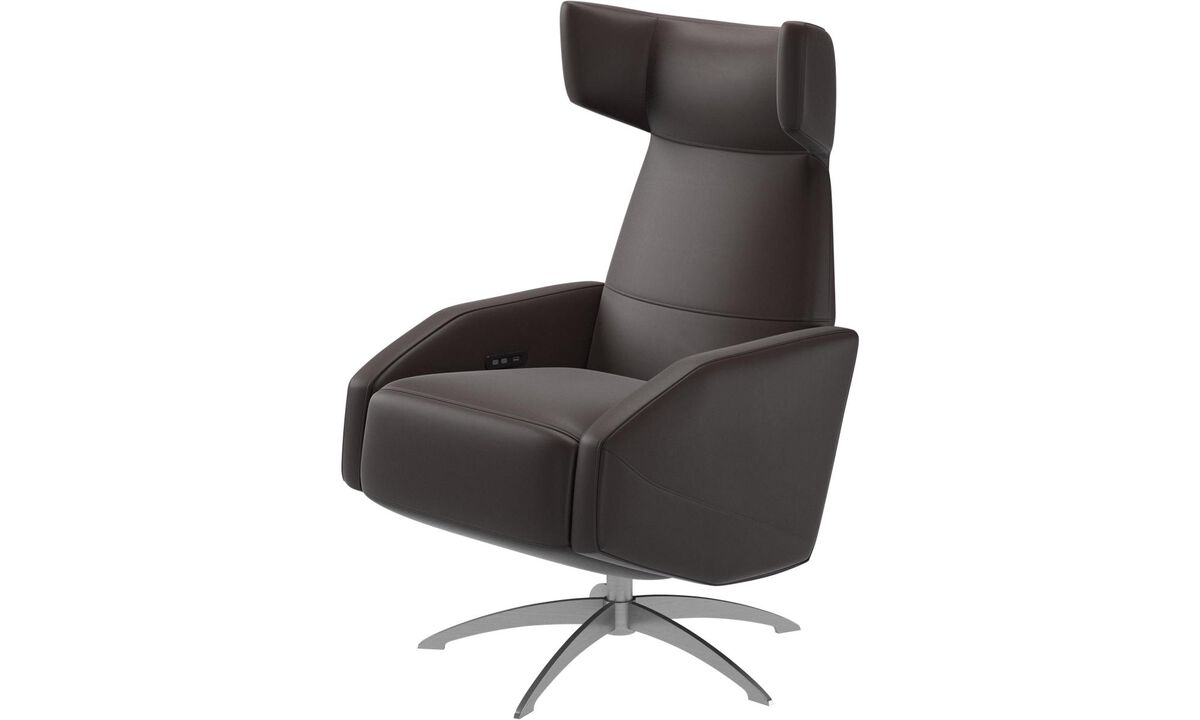 Armchairs - Harvard recliner with electrical function, also available with manual/battery recliner function - Brown - Leather