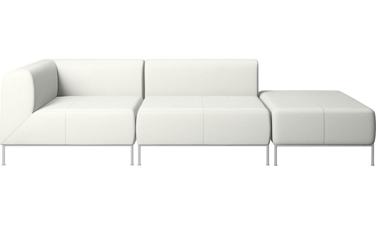 Sofás modulares - Sofá Miami con puf en lado derecho - Blanco - Piel