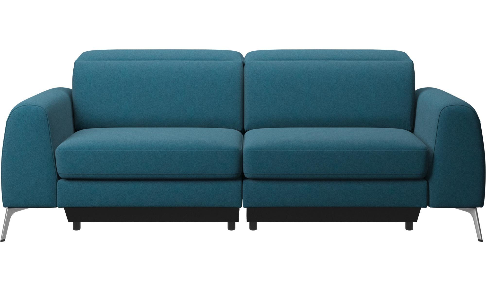 Perfect 3 Sitzer Sofas   Madison Sofa Mit Verstellbarer Kopfstütze   Blau   Stoff