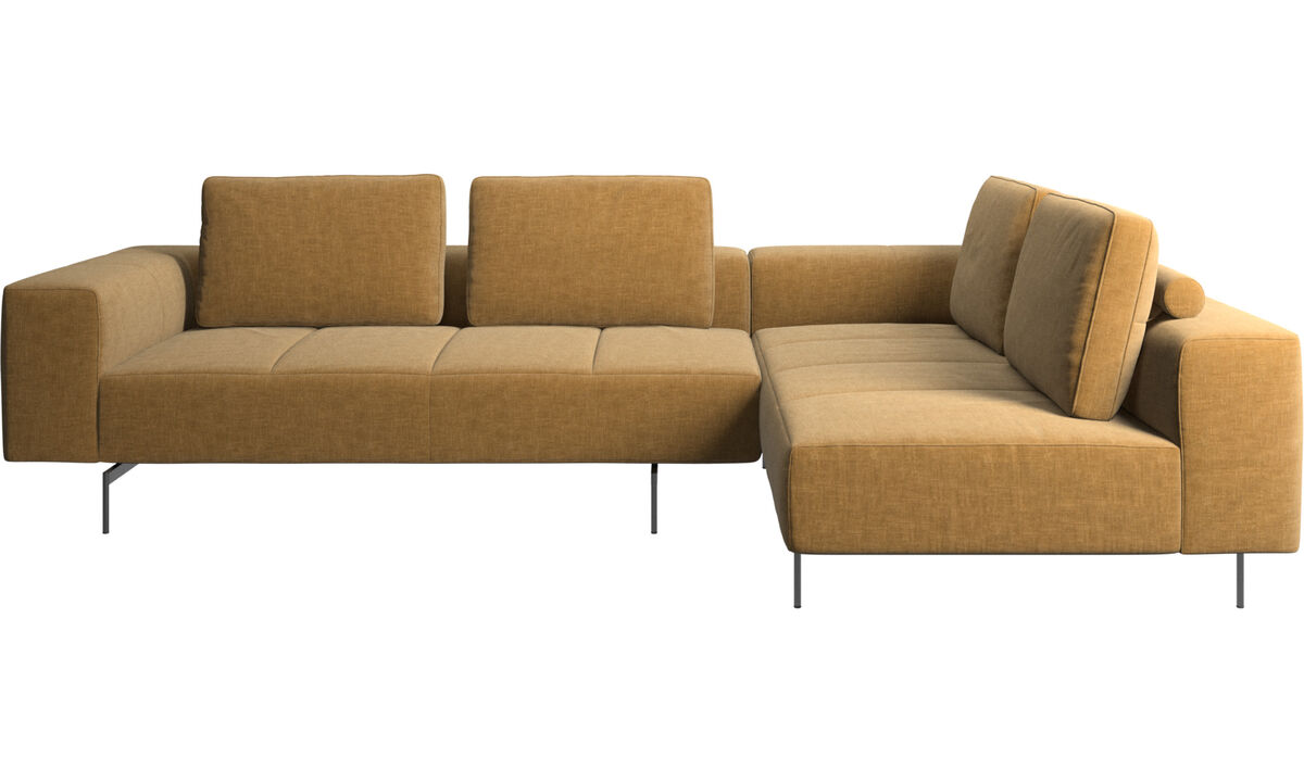 Sofás esquineros - sofá esquinero Amsterdam con módulo de descanso - En beige - Tela