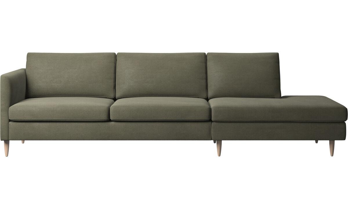 Lounge Sofas - Indivi Sofa mit Loungemodul - Grün - Leder