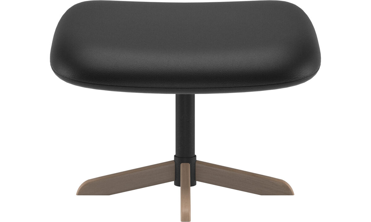 Footstools - Athena footstool - Black - Leather