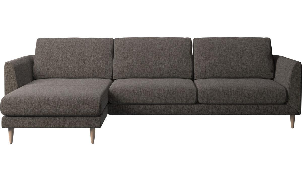 Sofás con chaise longue - Sofá Fargo con módulo chaise-longue - En marrón - Tela
