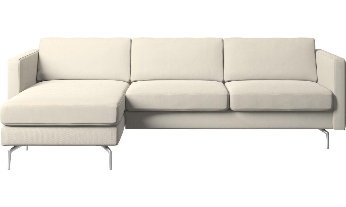 Chaise lounge sofas - Osaka sofa with resting unit, regular seat - White - Fabric