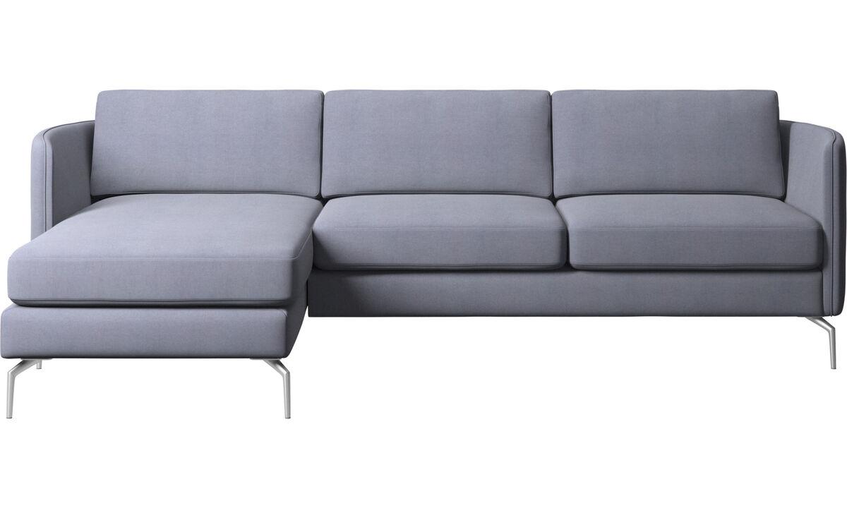 Sofás com chaise - Sofá Osaka com módulo chaise-longue, assento regular - Azul - Tecido