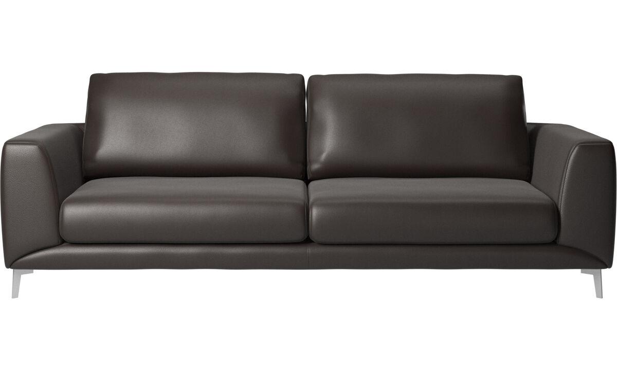 Sofás de 3 lugares - sofá Fargo - Castanho - Pele