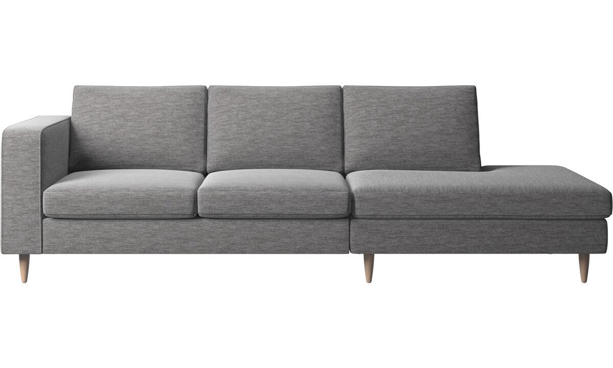 Sofas with open end - Indivi divano con lounge - Grigio - Tessuto