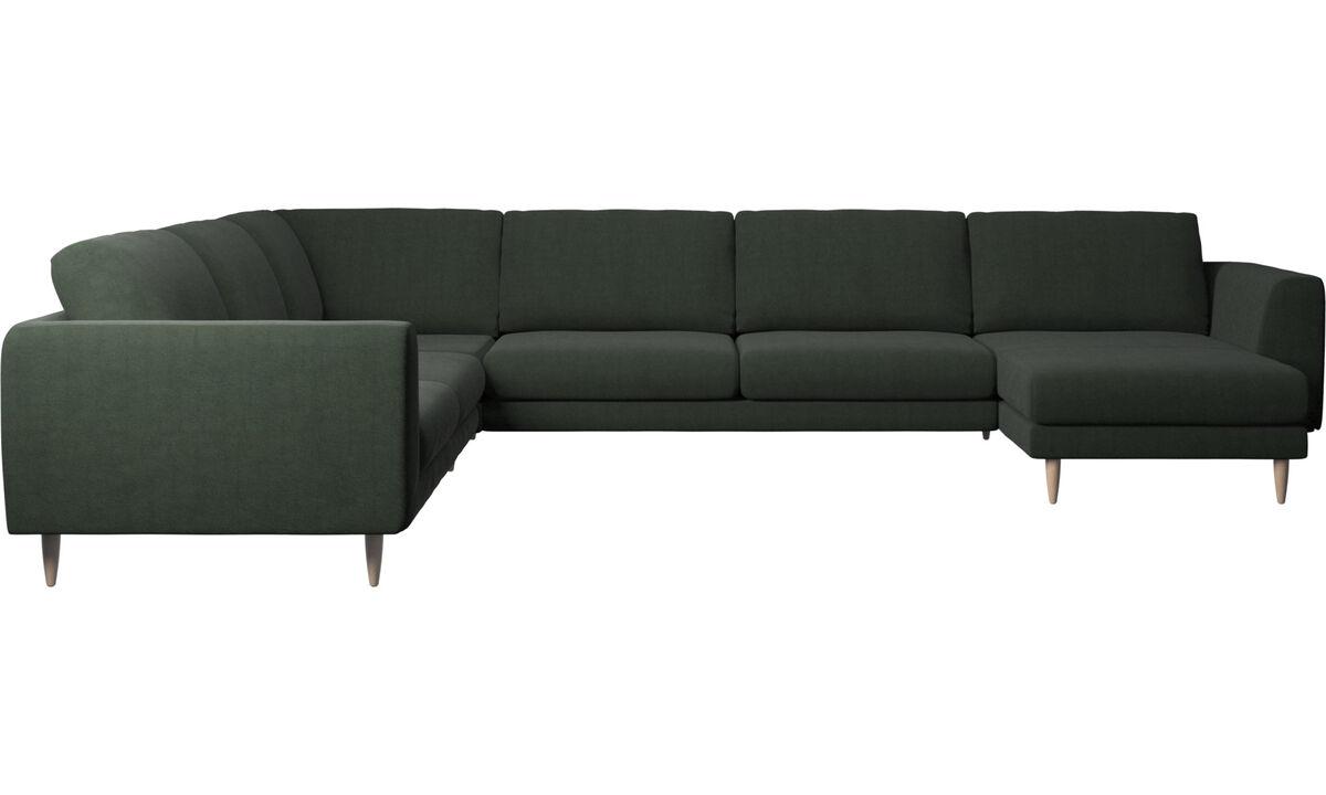 Sofás esquineros - Sofá esquinero Fargo con módulo chaise-longue - En verde - Tela