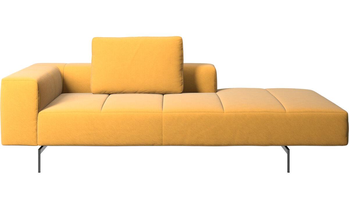 Sofás modulares - Módulo lounge para sofá Amsterdam, reposabrazos izquierdo, lado derecho abierto - En amarillo - Tela