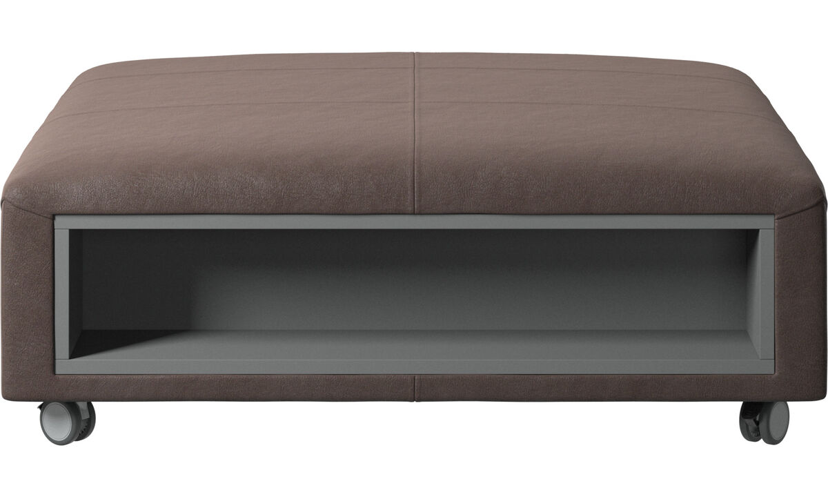 Footstools - Hampton footstool on wheels with storage left and right sides - Brown - Leather