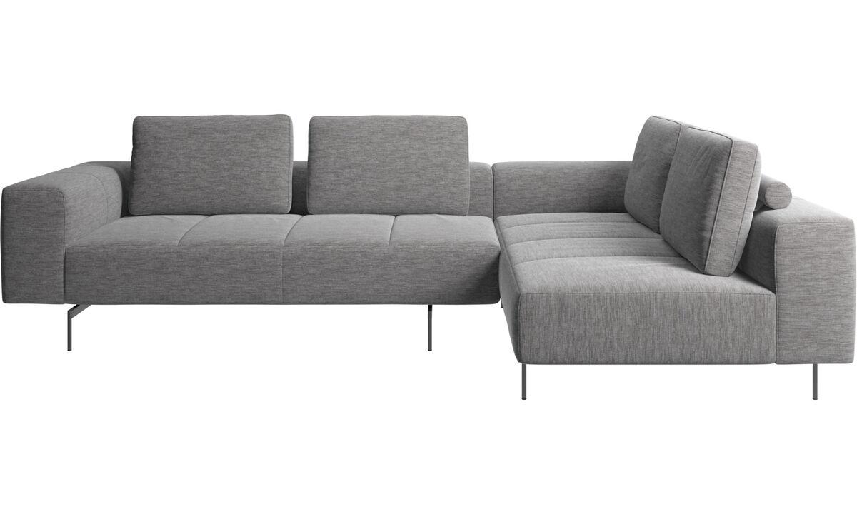 Corner sofas - Amsterdam corner sofa with lounging unit - Gray - Fabric