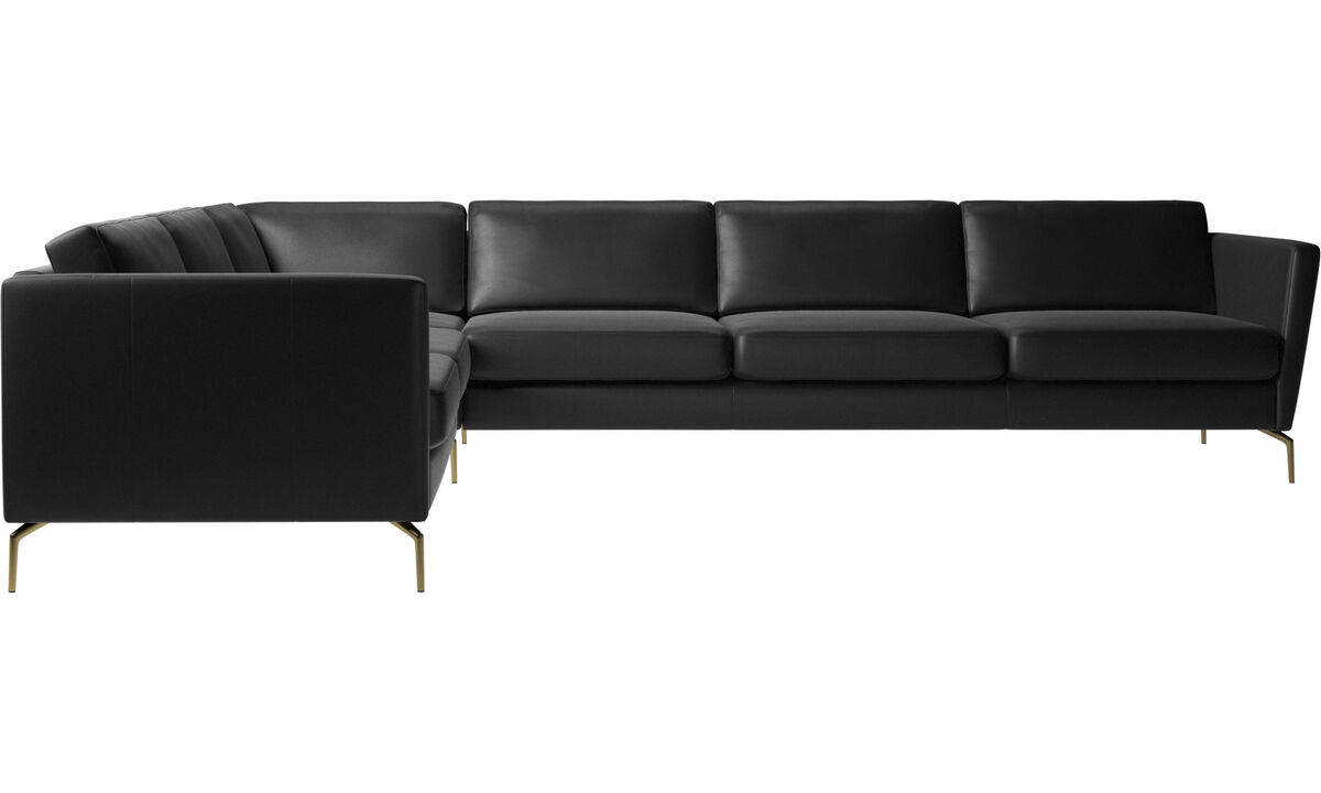 Corner sofas - Osaka corner sofa, regular seat - Black - Leather