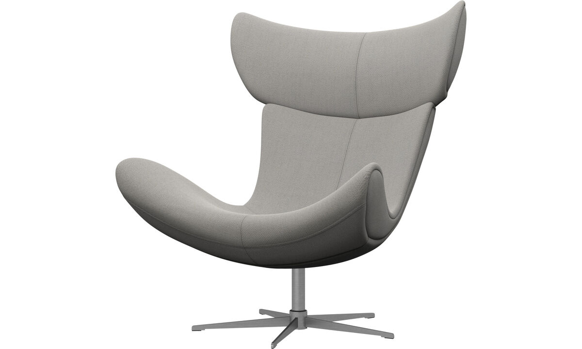 Armchairs - Imola chair with swivel function - White - Fabric