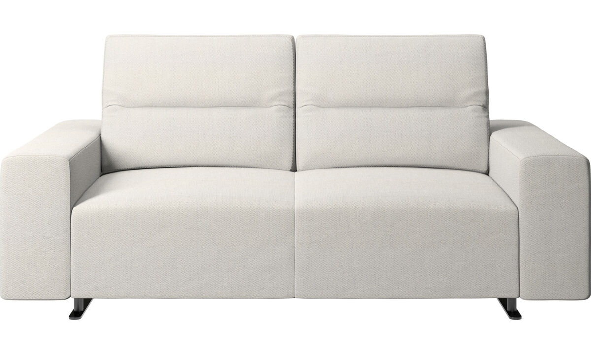2 seater sofas - Hampton sofa with adjustable back and storage on the right side - White - Fabric