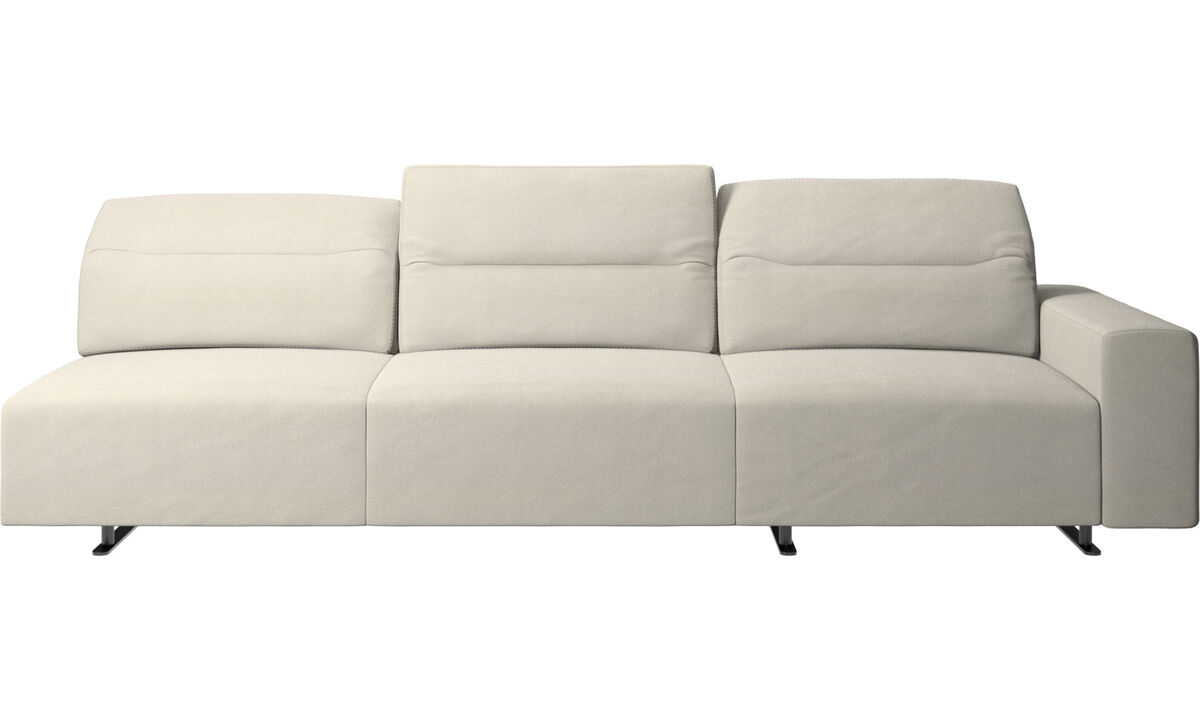 3 seater sofas - Hampton sofa with adjustable back and storage on the right side - White - Fabric