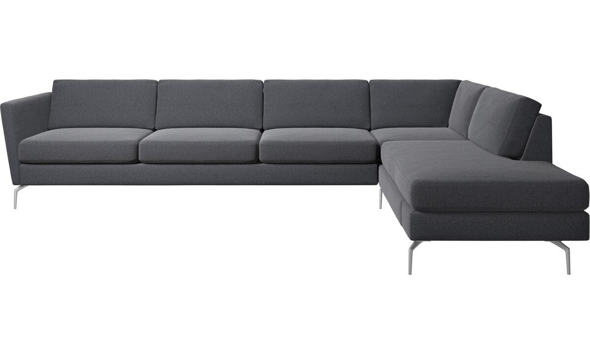 Lounge Suites - Osaka corner sofa with lounging unit, regular seat - Grey - Fabric