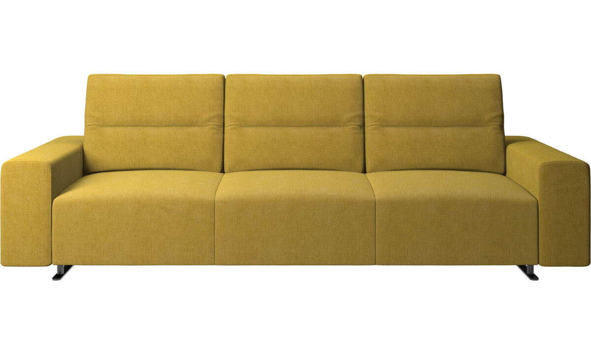 3 seater sofas - Hampton sofa with adjustable back and storage on the right side - Yellow - Fabric