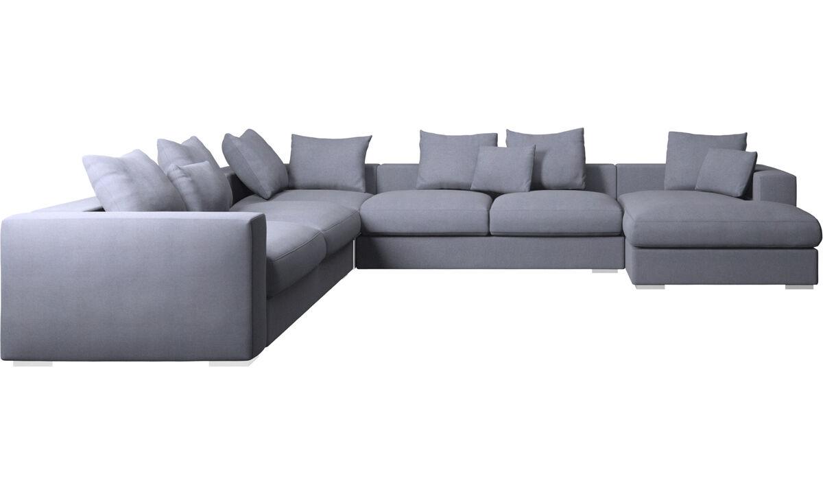 Chaise lounge sofas - Cenova corner sofa with resting unit - Blue - Fabric
