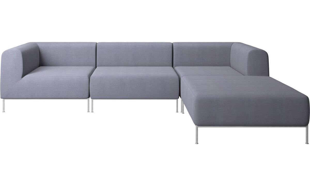 Modular sofas - Miami sofa with footstool on right side - Blue - Fabric
