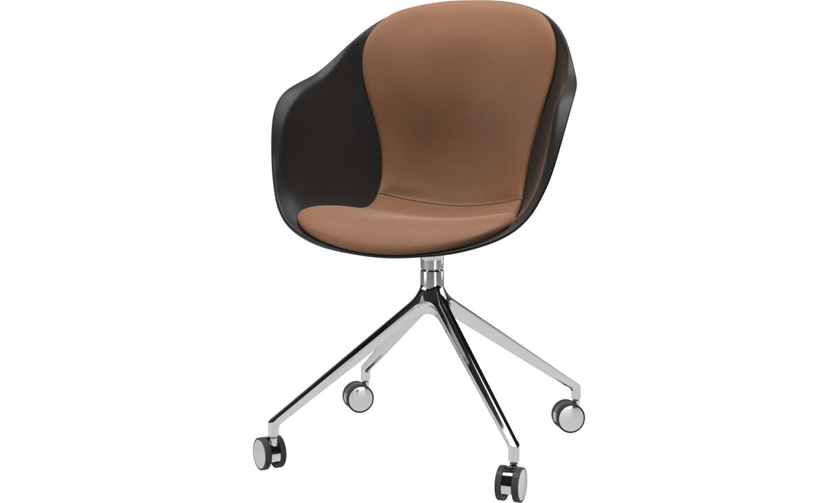 Dining Chairs Singapore - Adelaide chair with swivel function and wheels - Brown - Leather