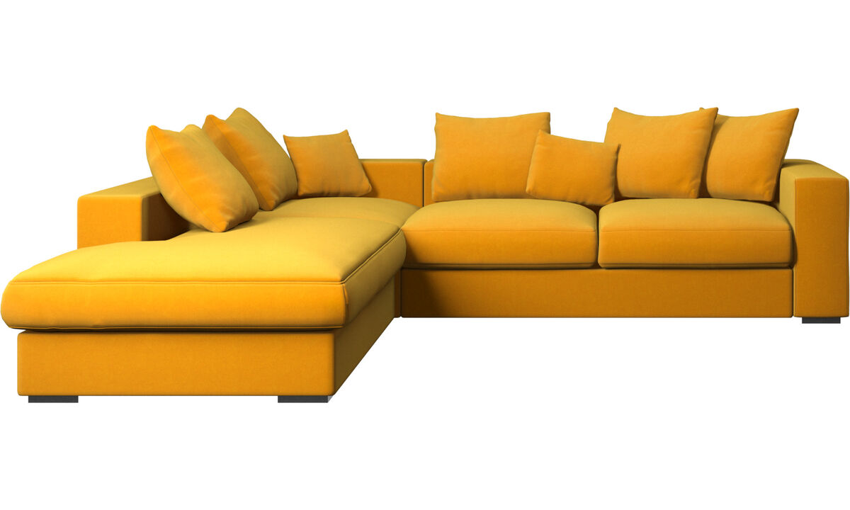 Sofas with open end - Cenova sofa with lounging unit - Orange - Fabric