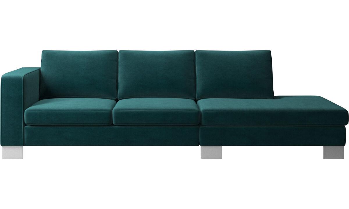 Sofás con lado abierto - sofá Indivi 2 con módulo de descanso - En azul - Tela
