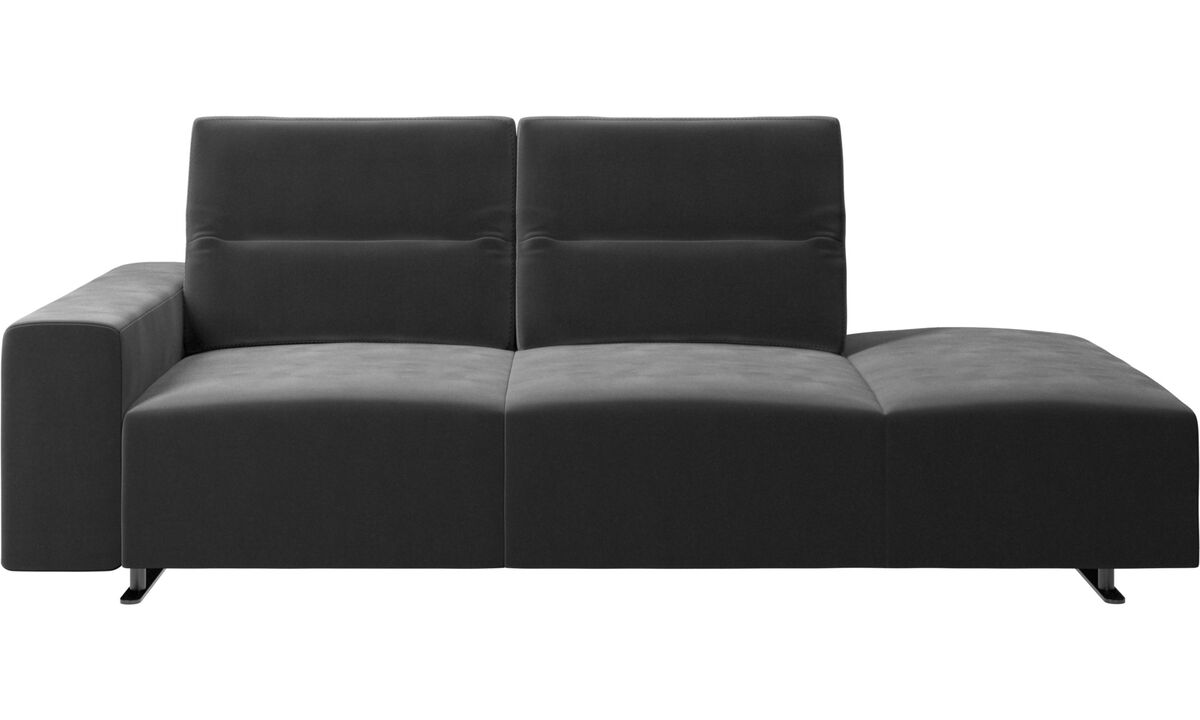 Sofas with open end - Hampton sofa with adjustable back and lounging unit right side, armrest left - Black - Fabric
