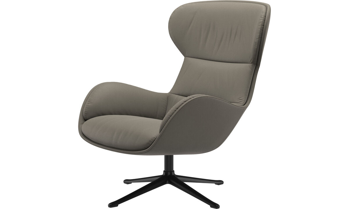 Recliners - Reno chair with swivel function - Grey - Leather