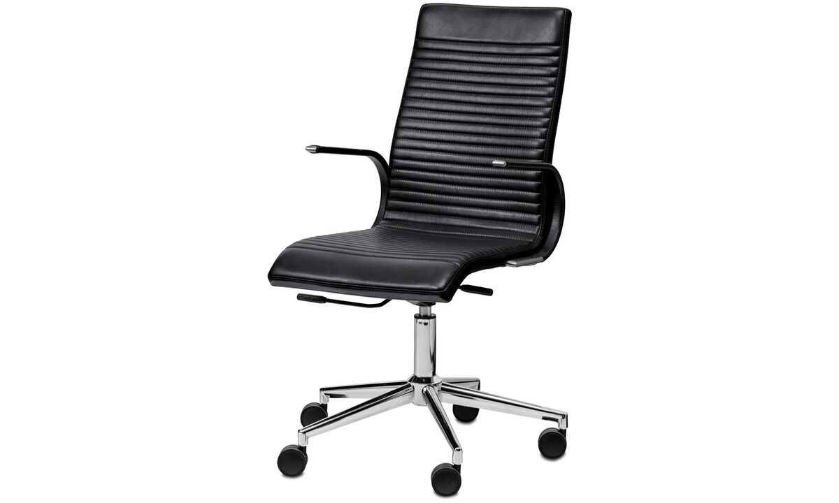 Office chairs - sedia Ferrara - Nero - Pelle