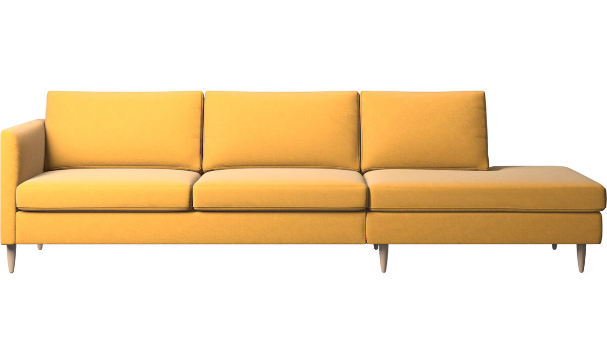 Sofas with open end - Indivi sofa with lounging unit - Yellow - Fabric
