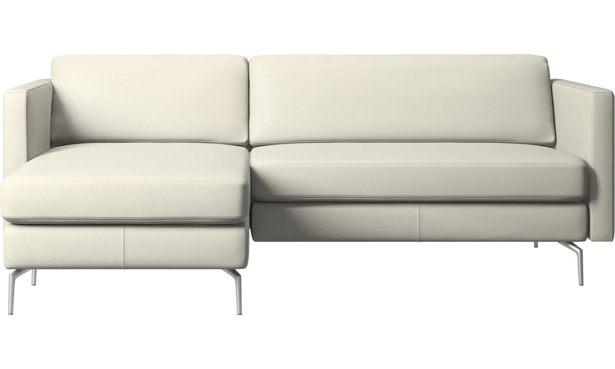 Chaise lounge sofas - Osaka sofa with resting unit, regular seat - Beige - Leather