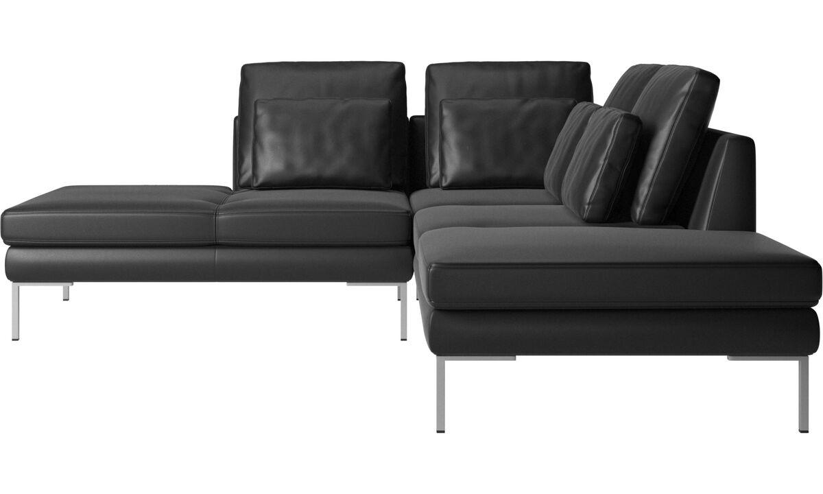 Sofás con lado abierto - sofá Istra 2 con módulo de descanso - En negro - Piel
