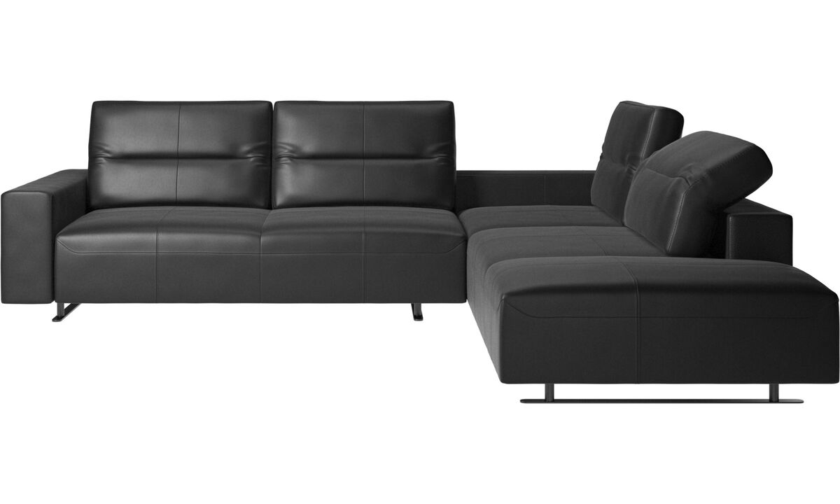 Corner sofas - Hampton corner sofa with adjustable back and storage on right side - Black - Leather