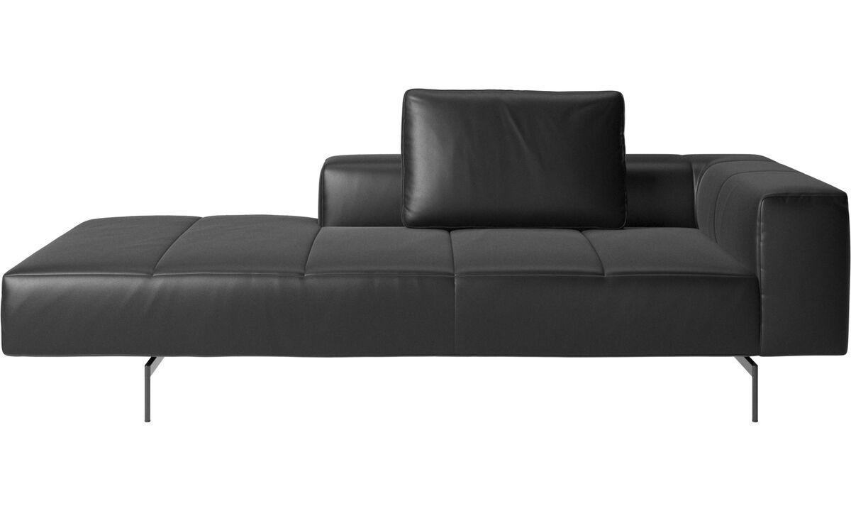 Sofás con chaise longue - sofá Amsterdam con módulo lounge, reposabrazos mediano izquierdo - En negro - Piel