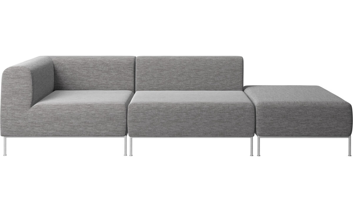 Modular sofas - Miami sofa with footstool on right side - Grey - Fabric